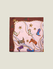 Silk cowboy boot print scarf : All Winter collection color Pink
