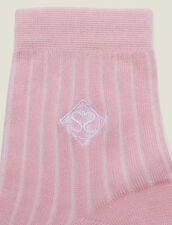 Embroidered Cotton Socks : Socks color Rose pastel