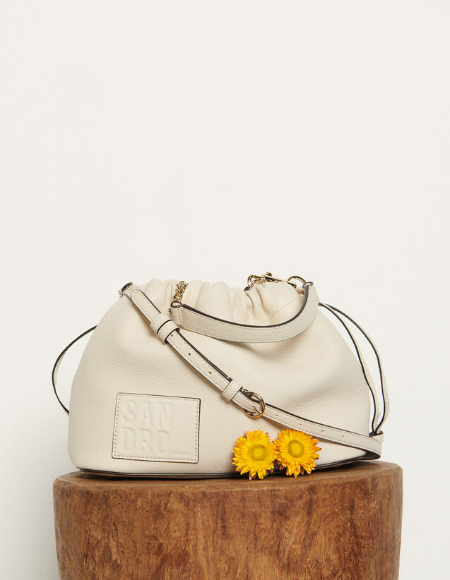 Grained leather bucket bag : All Bags color Ecru
