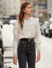 Lace Embellished Blouse : Tops & Shirts color Ecru