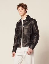Topstitched Leather Jacket : All Selection color Black