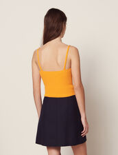 Knit Crop Top With Narrow Straps : null color Yellow
