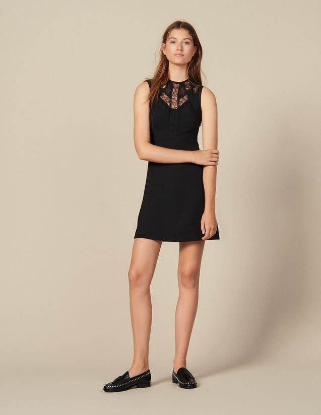 Dress With Lace Inserts : New In color Black