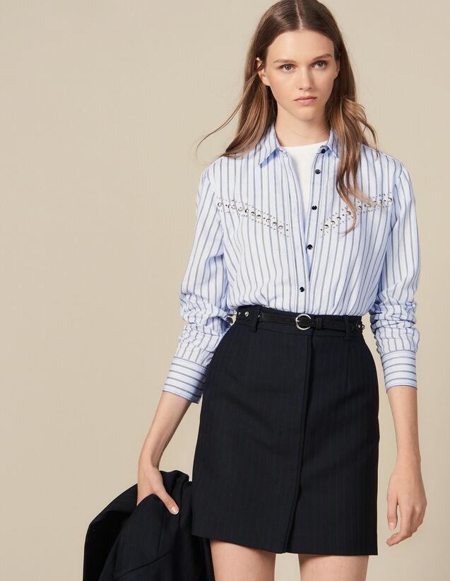 Pinstriped Tailored Short Skirt : Copy of VP-FR-FSelection-Jupes&Shorts color Black