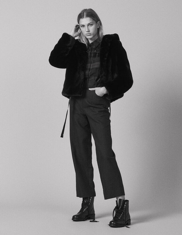Faux Fur Hooded Jacket : Blazers & Jackets color Black