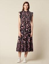 Long Printed Ruffled Dress : Dresses color Black
