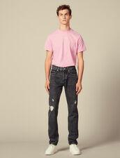 Washed Slim-Fit Non-Stretch Jeans : LastChance-IT-H50 color Black