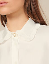 Silk Shirt With Pleated Trim : New In color Ecru