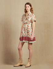 Printed Shirt Dress, Opening At The Back : null color Multi-Color