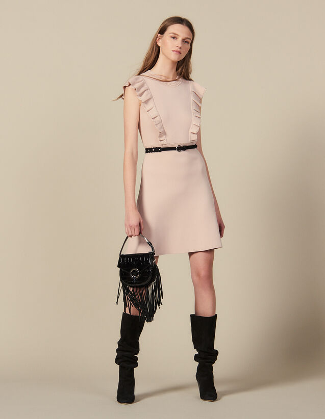 Rib-Knit Dress Trimmed With Beads : Dresses color Nude