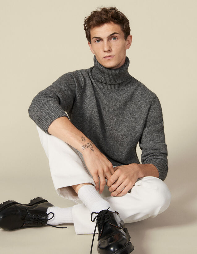 Roll neck wool and cashmere sweater : Sweaters & Cardigans color Charcoal Grey