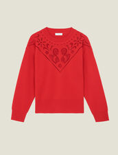High-Neck Sweater With Front Panel : LastChance-ES-F50 color Red