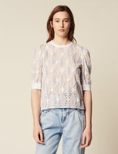 Short-Sleeved Lace Top : Printed shirt color Multi-Color