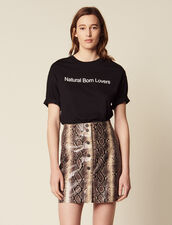 Short Python Print Leather Skirt : null color Python