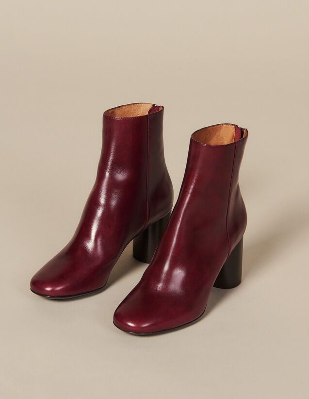 Leather ankle boots : All Shoes color Bordeaux