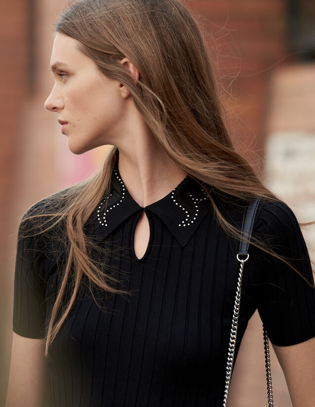 Polo Shirt With Jewelled Collar : Sweaters & Cardigans color Black