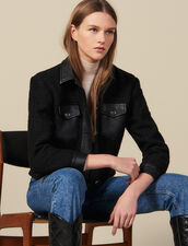 Tweed Jacket With Leather Trim : Blazers & Jackets color Black