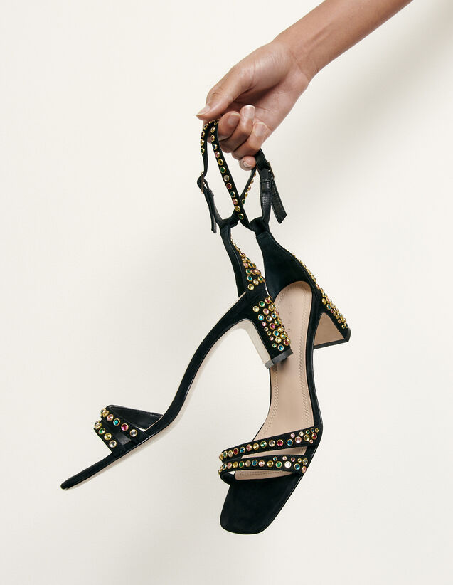 Sandals finished with coloured studs : All Shoes color Black