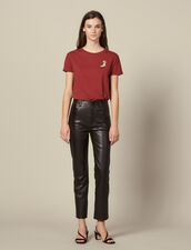 Straight leather trousers with seaming : LastChance-ES-F50 color Brown
