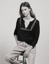 Linen T-Shirt With Grandad Neckline : null color Black
