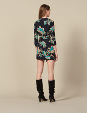 Short printed dress with draped belt : Dresses color Black