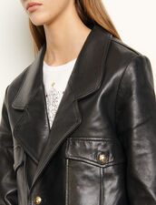 Short tailored leather jacket : Blazers & Jackets color Black