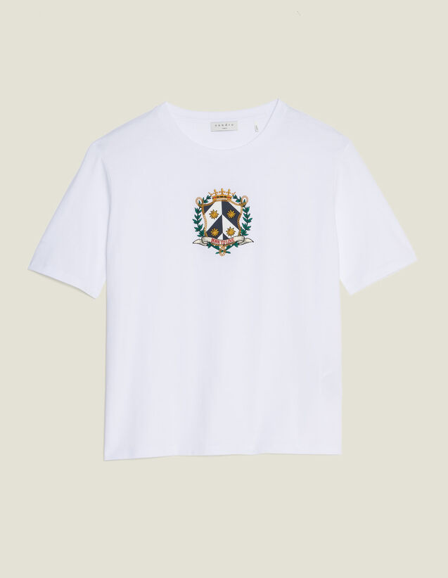 Cropped T-Shirt With Embroidery : T-shirts color white