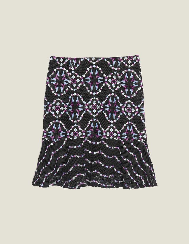 Short Guipure Skirt : null color Black