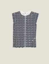 Sleeveless Broderie Anglaise Top : Printed shirt color Navy Blue