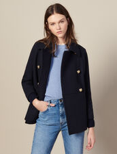 Double-Breasted Wool Peat Coat : Coats color Navy Blue