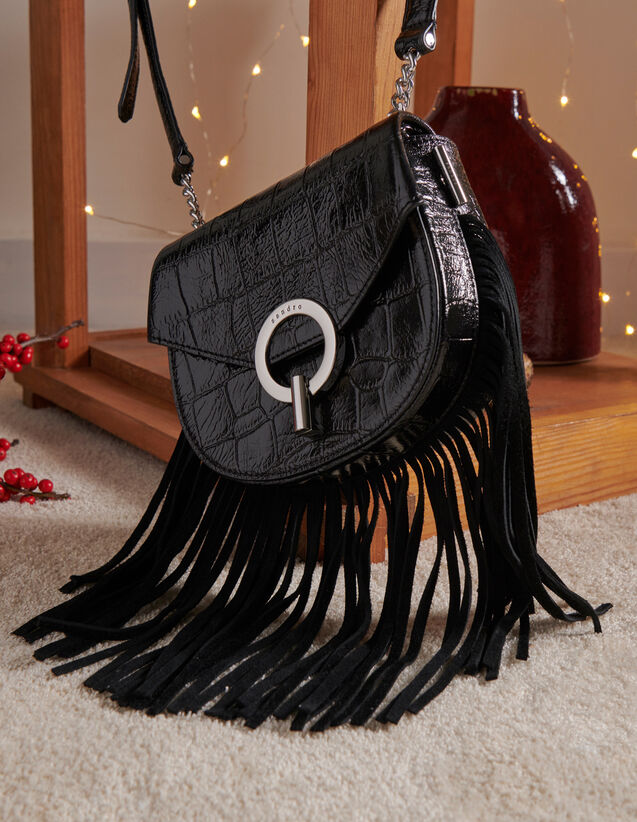 Fringed Pépita Bag, Small Model : Best of the season color Black