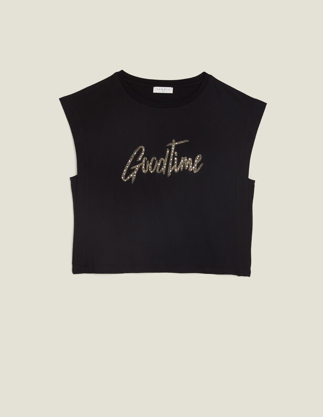 Cropped T-Shirt With Beaded Lettering : All Selection color Black