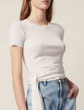 Knit Top With Tie Fastening : null color white