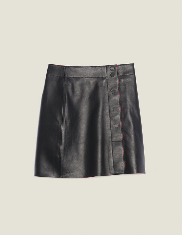 A-Line Leather Skirt : null color Black