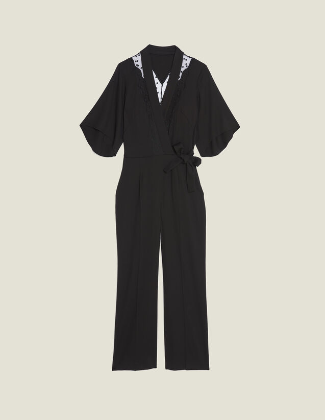 Wrapover Jumpsuit : null color Black