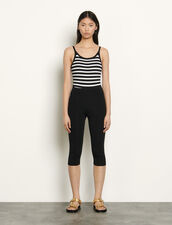 Knitted pedal pushers : Pants color Black