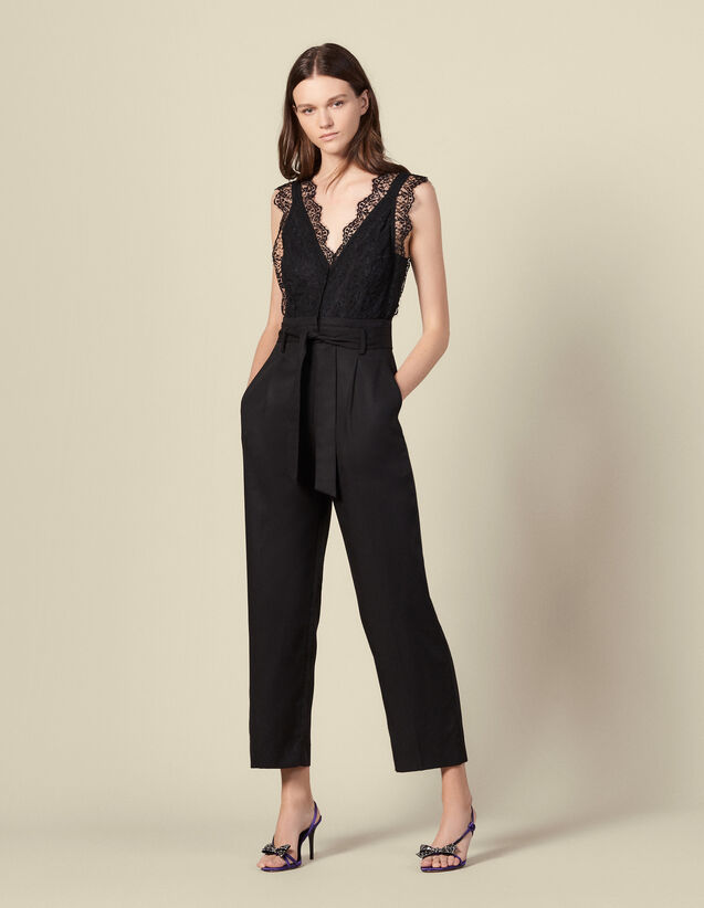 Jumpsuit with lace top : Jumpsuits color Black