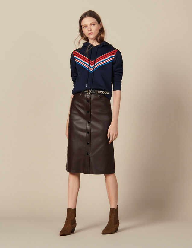 Midi Leather Skirt : Skirts & Shorts color Brown