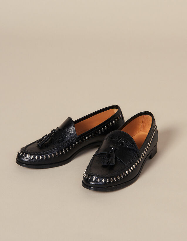 Crinkled leather loafer with tassels : LastChance-ES-F40 color Black