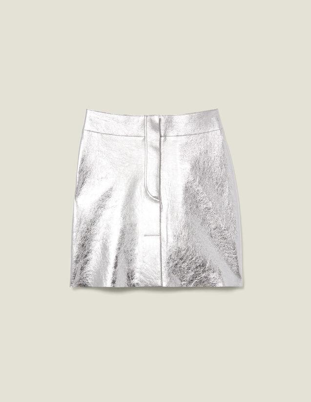 Short Silver Leather Skirt : Copy of VP-FR-FSelection-Jupes&Shorts color Silver