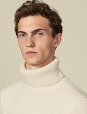 Roll neck wool and cashmere sweater : LastChance-IT-H40 color Ecru