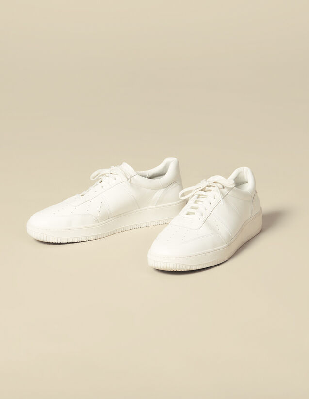 Plain leather trainers : Shoes color white