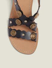 Heeled Sandals With Rivet Details : null color Black