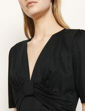 Draped T-shirt with a bow : T-shirts color Black