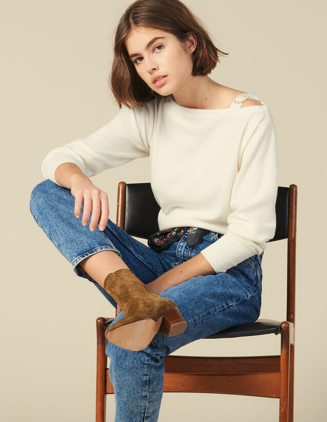 Boat Neck Sweater With Jewelled Buckle : FBlackFriday-FR-FSelection-30 color Ecru
