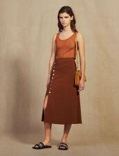 Knit Skirt With Slit : LastChance-FR-FSelection color Brown