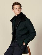 Chevron wool aviator jacket : Blazers & Jackets color Dark green