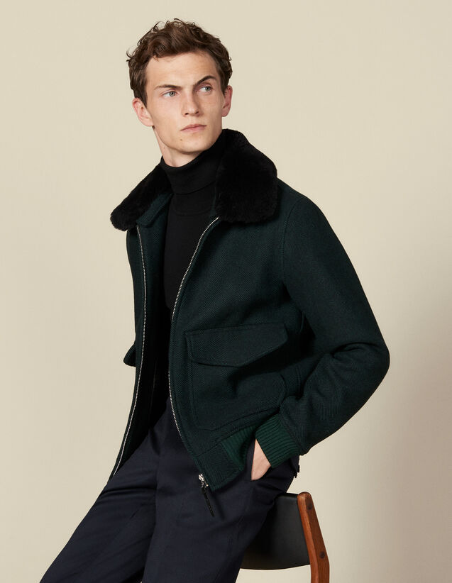 Chevron wool aviator jacket : Blazers & Jackets color Dark green