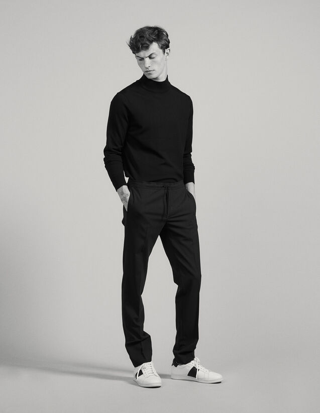 Trousers with elasticated waist : Pants & Shorts color Black