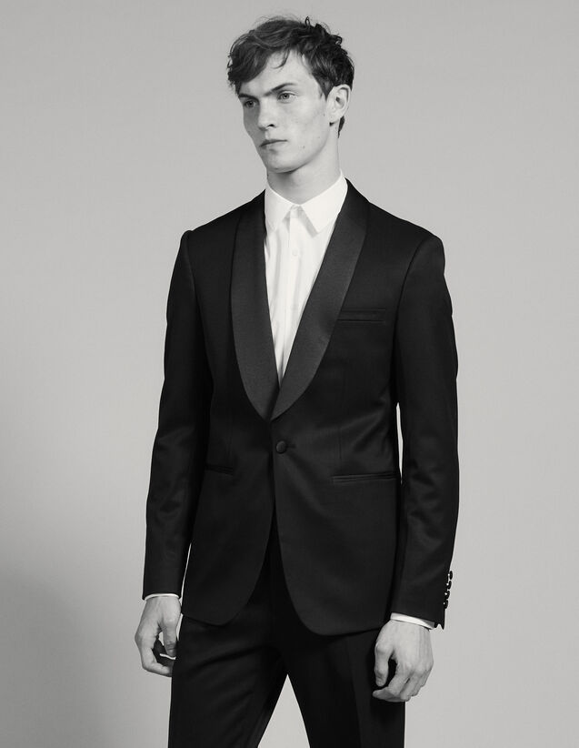 Sandro Grain De Poudre Tuxedo Jacket : Suits & Tuxedos color Black